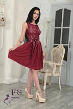 Нарядное гипюровое платье с поясом-бантом и пышной юбкой персиковое, фото 3