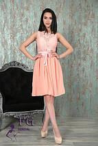Выпускное приталенное платье с поясом из эко-кожи без рукавов бордовое, фото 2