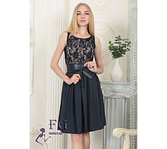 Праздничное платье по фигуре с поясом-бантом шифоновая юбка темно-синее, фото 3