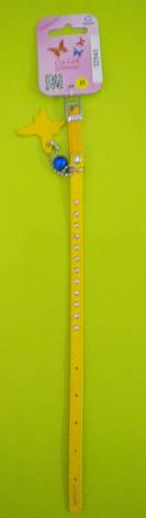 Ошейник с клеевыми стразами и резинкойКоллар Гламур ширина 9ммдлина 22-30см32548 желтый, фото 2