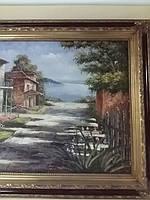 Картина маслом на холсте в раме пейзаж
