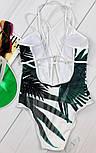 Женский сдельный купальник с листьями бело-зеленый, фото 2