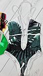 Женский сдельный купальник с листьями бело-зеленый, фото 3