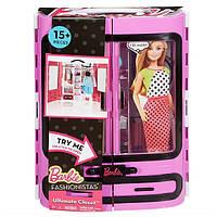 Шкаф чемодан с одеждой Барби сиреневый Barbie Fashionistas Closet DPP63