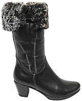 Зимние женские сапоги. Натуральный мех(Цигейка). Кожаные. На каблуке