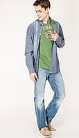 Мужская стильная джинсовая рубашка с длинными рукавами размер (М)  Mustang