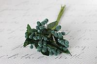 Декоративные веточки облепихи  12 шт/уп. в сахарной обсыпке зеленого цвета, фото 1