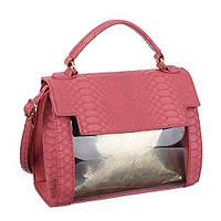 Маленькая прозрачная сумочка с экокожей под рептилию (Европа) Красный