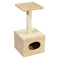 Когтеточка с домиком Д1 32х32хh65 см бежевая для котов и кошек Природа