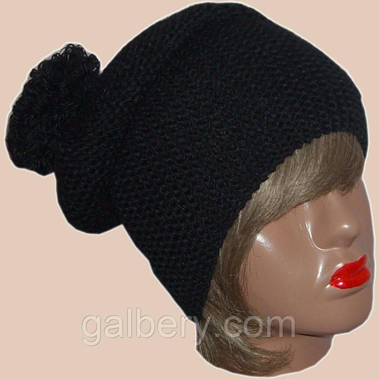 Женская вязаная шапка-носок объемной ручной вязки