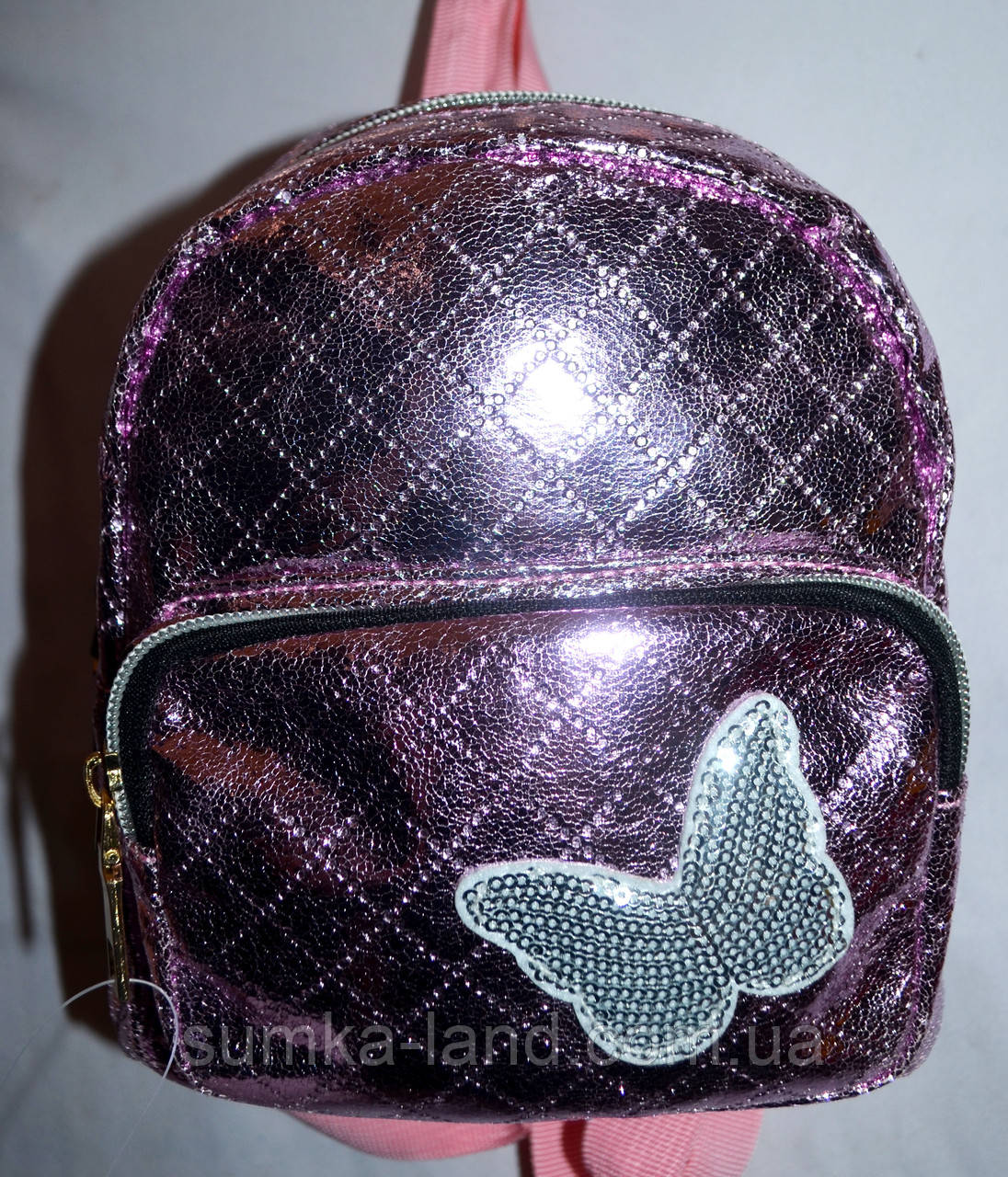 Женский блестящий пудровый рюкзак с бабочкой 16*20 см
