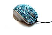 USB проводная оптическая мышка с камнями Swarovski женская мышь Turquoise