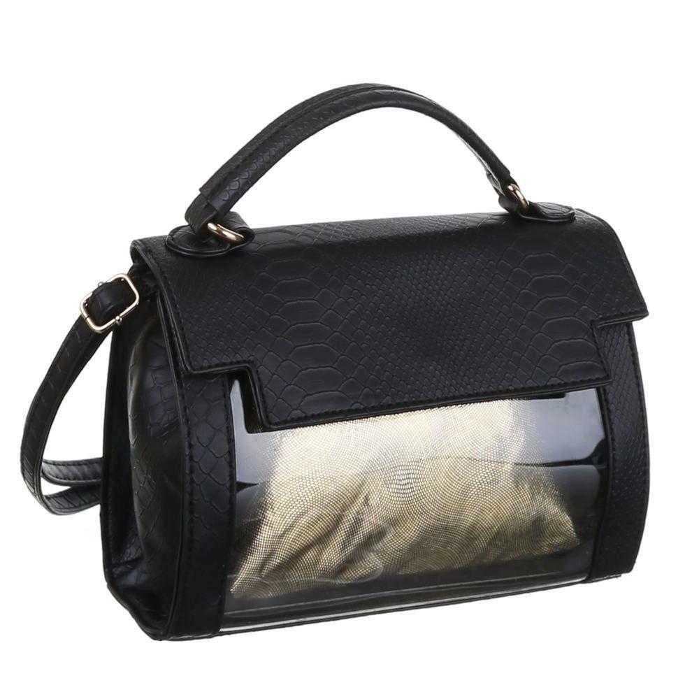 Прозрачная женская сумка с экокожей под рептилию, маленькая (Европа) Черный