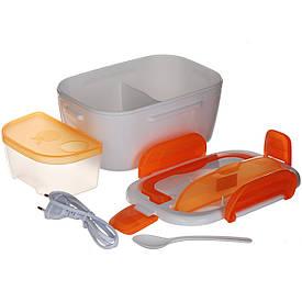 Судочек с подогревом, термос пищевой, ланчбокс (3166) Оранжевый