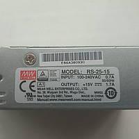Блок питания Mean Well RS-25-15 В корпусе 25.5 Вт, 15 В, 1.7 А (AC/DC Преобразователь), фото 1