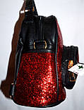 Женский рюкзак с глитером серебро 18*20 см, фото 2