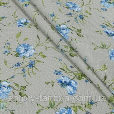 Декоративная ткань для штор, цветочный принт синий