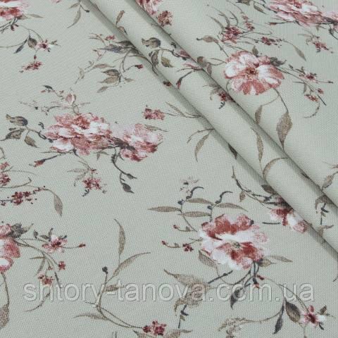 Декоративная ткань для штор, цветочный принт розовый