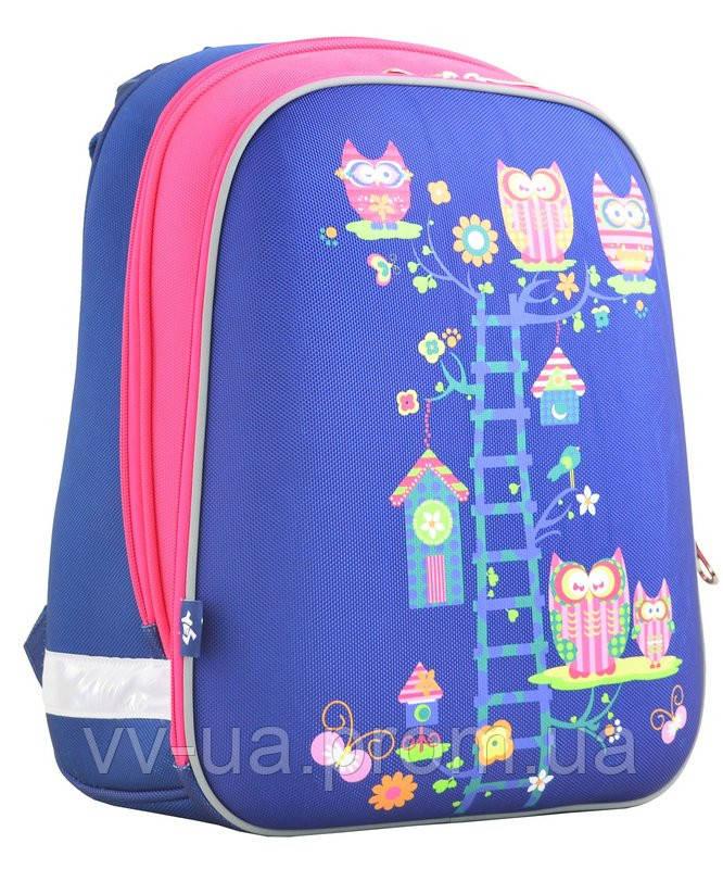 Рюкзак школьный каркасный Yes H-12 Owl blue, для девочек, синий (554495)