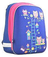 Рюкзак школьный каркасный Yes H-12 Owl blue, для девочек, синий (554495), фото 1