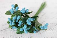 Декоративные веточки облепихи  12 шт/уп. в сахарной обсыпке голубого цвета, фото 1
