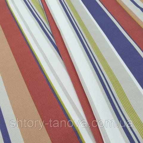 Декоративная ткань для штор, крупные полосы  красно-синий
