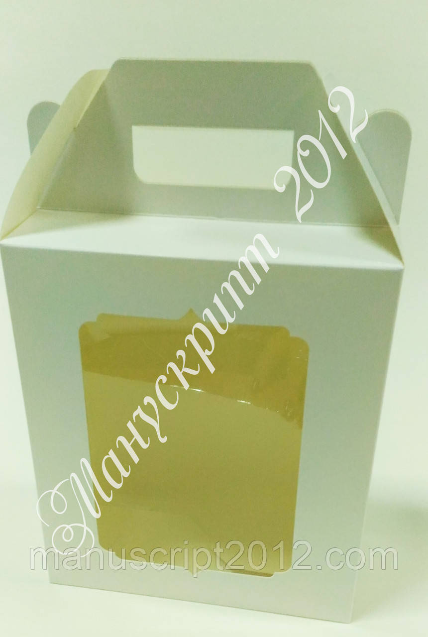 Коробка подарочная с ручкой и окном 210х180х90 мм.