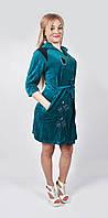 Молодёжный женский халат велюровый длинный - капельки