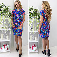 7c8b064a57b Женское облегающее мини-платье с коротким рукавом и цветочным рисунком Батал
