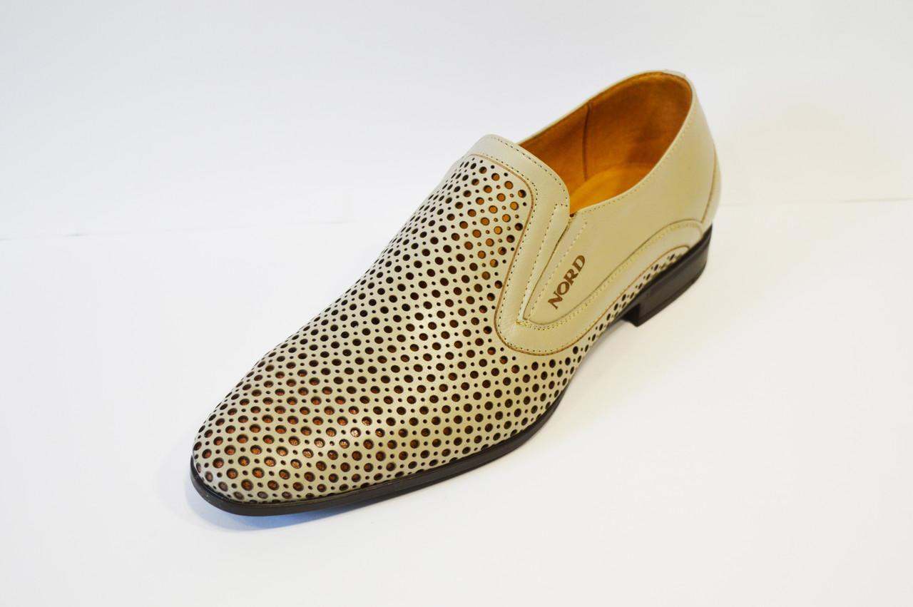 Туфли кожаные светло-бежевые Nord 7623