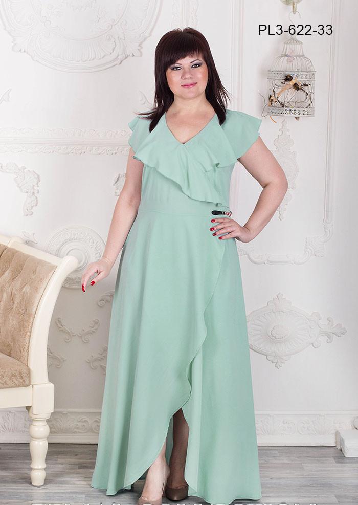 Женское нарядное платье с воланами / цвет мята / размер 52,54,56,58