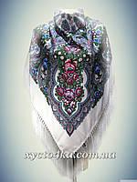 Шерстяной платок с пышной бахромой Дыхание лета, белый 120см