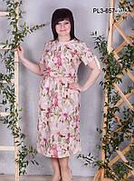 Женское летнее платье из шелка свободного покроя / размер 50,54,56,60