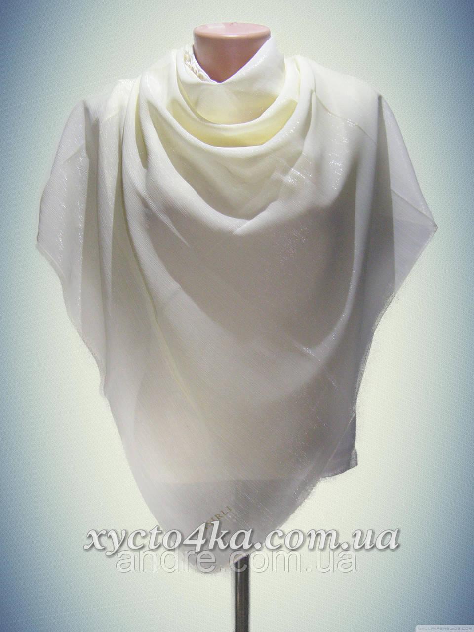 Нарядный платок Переливы, айвори или тёмно синий