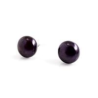 Перли чорний, Ø8-9 мм, срібло, пуссети (сережки-гвоздики), 336СРЖ, фото 1