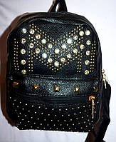 Женский молодежный рюкзак из кожзама с шипами 20*25 см, фото 1
