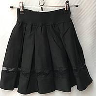 Школьная юбкачёрная детская для девочки от 7до 12лет,вышивка в сеточку