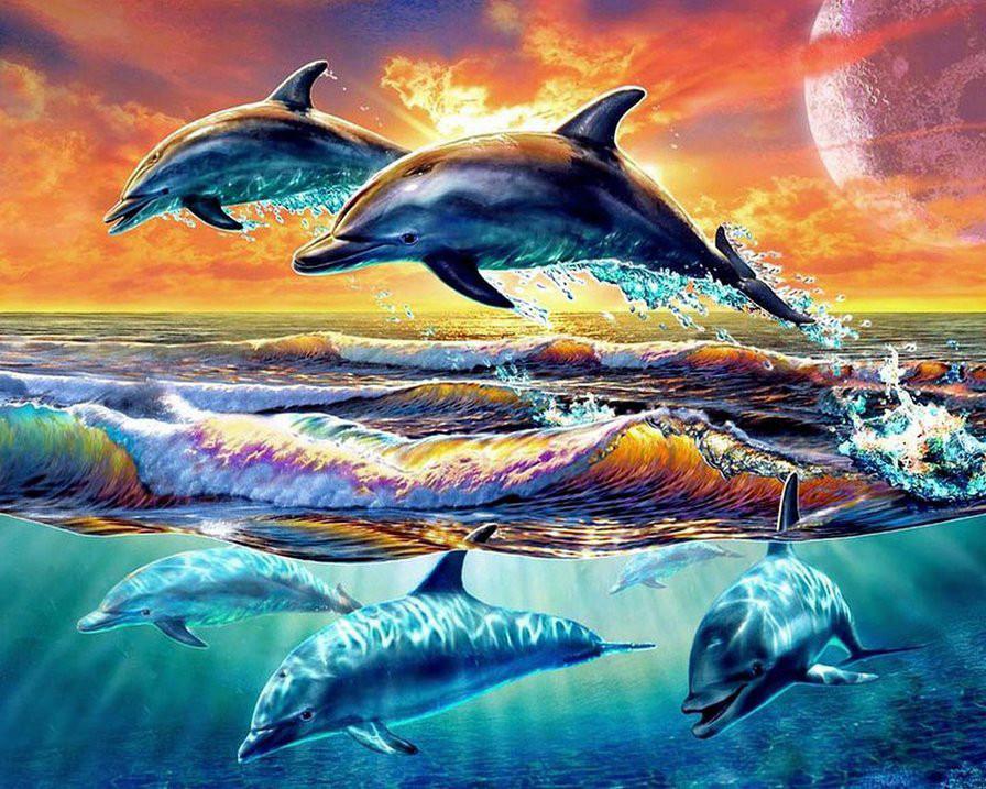 Алмазная вышивка Игры дельфинов DM-208 (40 х 50 см) ТМ Алмазная мозаика