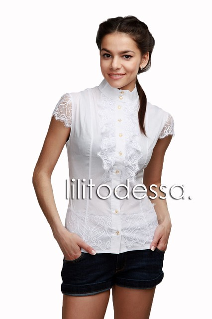 Блуза с гипюром белый - LILIT ODESSA - женская одежда опт - розница в Одессе