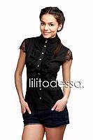 Блуза с гипюром черный, фото 1