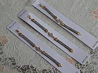 Очень красивые браслеты с крестиком на детскую ручку черные в камушки, фото 1
