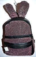 Женский  рюкзачек из кожзама зайчик малиновый 21*27 см, фото 1
