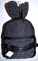 Женский  рюкзачек из кожзама зайчик черный 21*27 см, фото 1