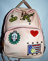 Женский рюкзак из кожзамас черепом пудровый 22*27 см, фото 1