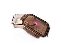 Прямоугольный контейнер стеклянный 19х14х6см/1040мл с крышкой из пластика для хранения продуктов Fissman