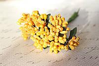 Декоративные веточки с перламутровыми тычинками 6 шт/уп. в глитерной обсыпке ярко-желтого цвета, фото 1