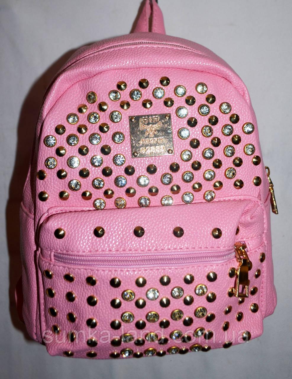 Женский молодежный рюкзак из кожзама с шипами розовый 20*24 см