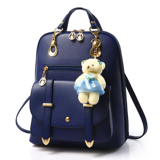 8e2349443eae Молодежный рюкзак для девушек с игрушкой. Стильные женские городские рюкзаки.  Синий - prestig.