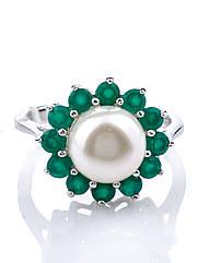 Кольцо серебряное с жемчугом и агатом
