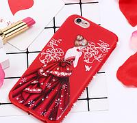 Красный силиконовый чехол с красной девушкой и камушками Swarovski для iPhone 6/6S